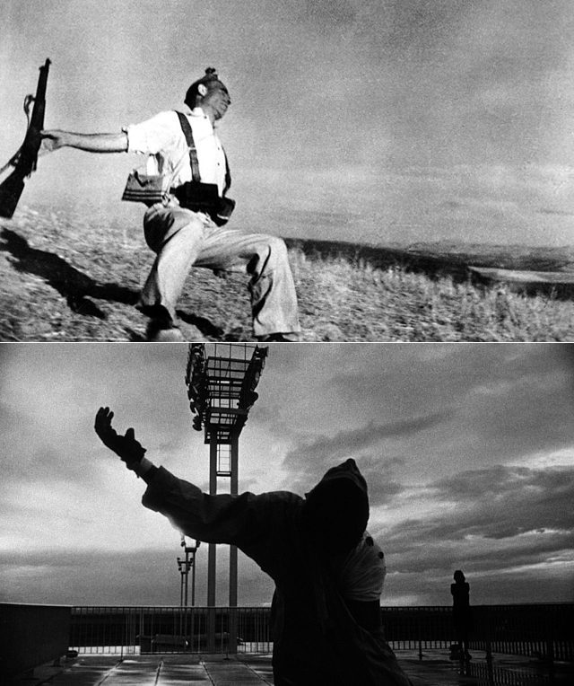 "Robert Capa's ""the Falling Soldier"" meets Chris Marker's echo"