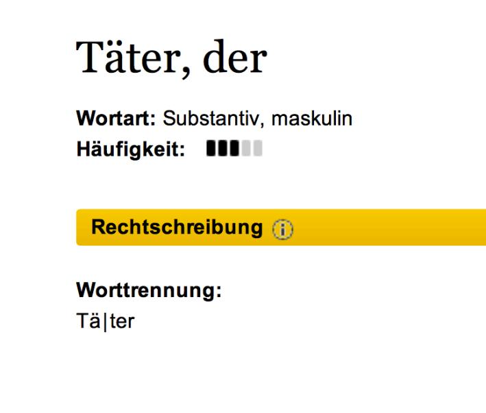 Duden Dictionary - Täter