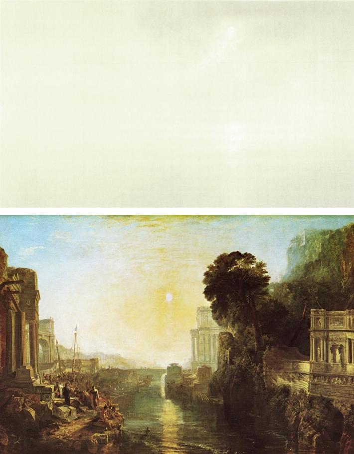 Top: Qui Shihua, Untitled 2005 185x357 Bottom: JMW Turner, Dido Building Carthage, 1815