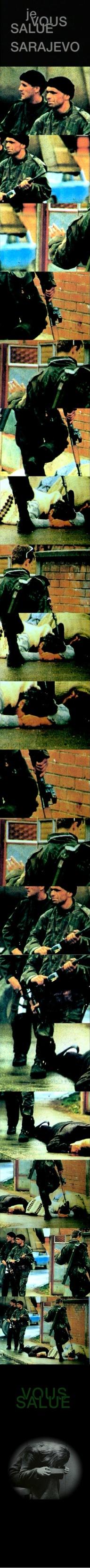 Filmstrip with frame-by-frame rendition of Je Vous Salue Sarajevo of Jean Luc Godard