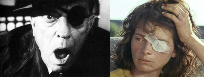 "One-eyed cinematic creatures Left - Buster Keaton in Samuel Beckett's Film Right - Juliette Binoche in Léos Carax' ""The Lovers on the Bridge"""