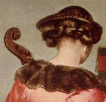 "Gerard ter Borch, nape of a young woman, detail, from ""The Concert"""