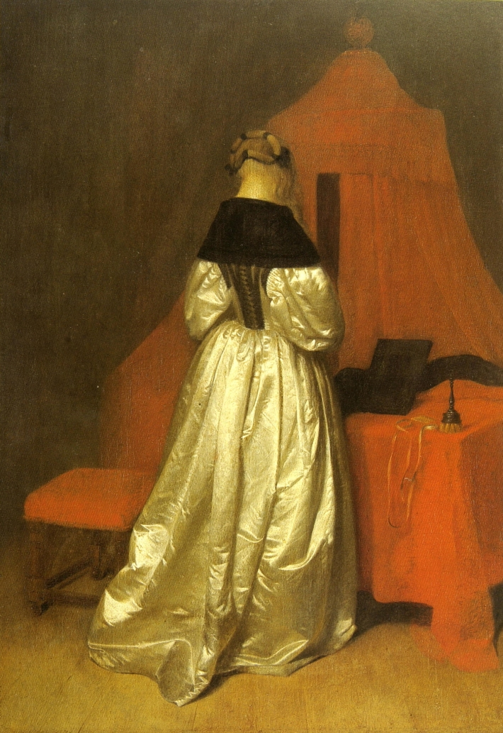 Gerard ter Boch, A Woman in white Sateen in front of a Bed with red Curtains, ca. 1655