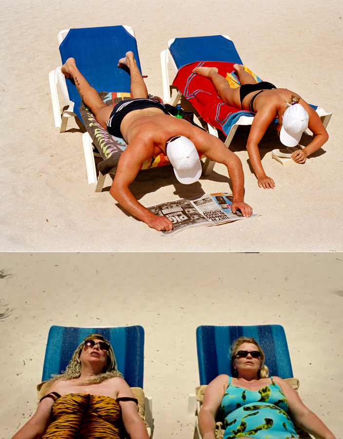 "Top: Martin Parr, from ""Life's a Beach"". Bottom: Ulrich Seidl, from Paradise: Love."