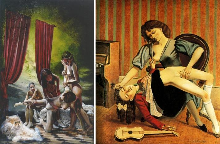 Left: Martin Eder, Spring Awakening,  Right: Balthus, The Guitar Lesson